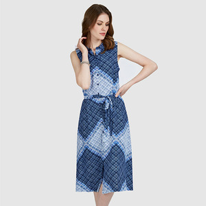 체크 셔츠 원피스 Sleeveless Check Shirt Dress