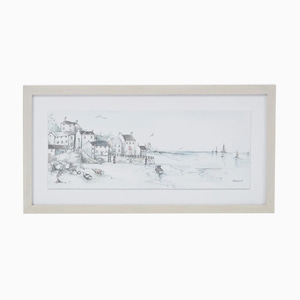 해안가 그림액자  COASTAL SKETCH FRAMED PRINT 31x25CM